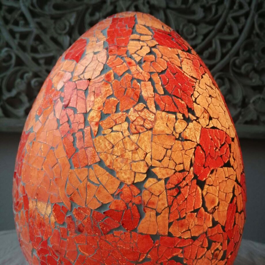 LAMPADA UOVO crack etnica arredo rosso rosa vetro resina (1)