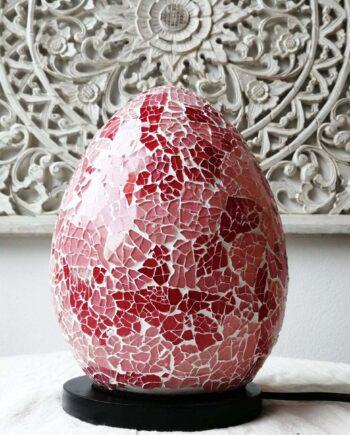 LAMPADA UOVO crack etnica arredo rosso rosa vetro resina (3)v