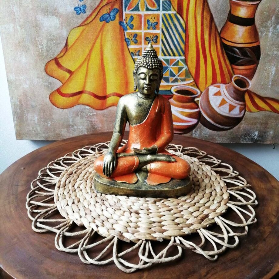 STATUA BUDDHA RESINA ARANCIONE ORO (2)