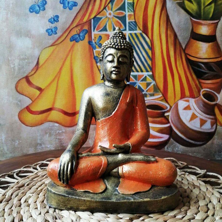 STATUA BUDDHA RESINA ARANCIONE ORO (3)