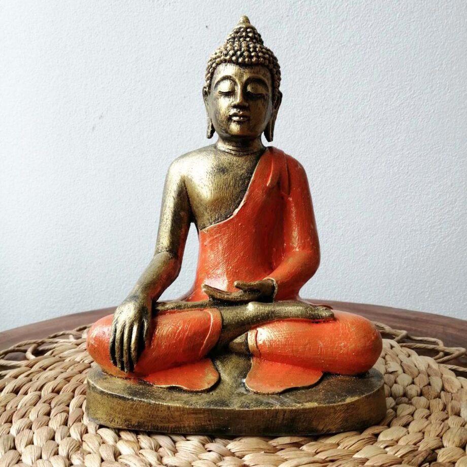 STATUA BUDDHA RESINA ARANCIONE ORO (4)