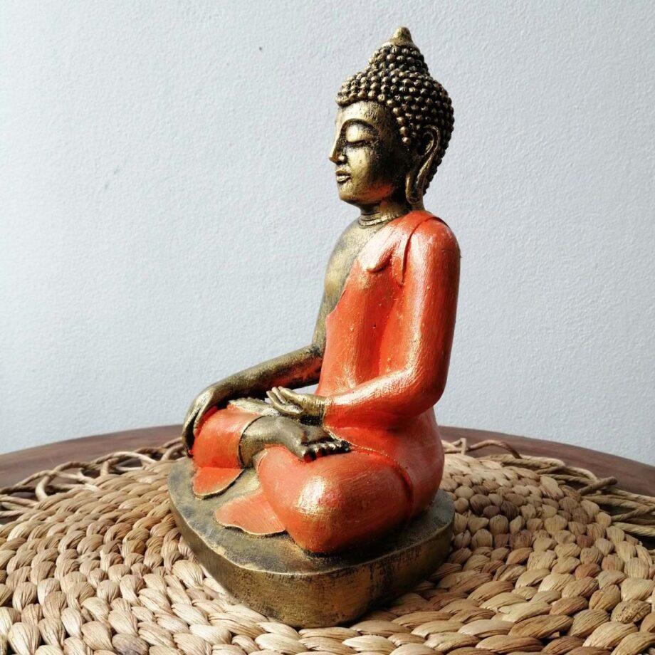 STATUA BUDDHA RESINA ARANCIONE ORO (5)