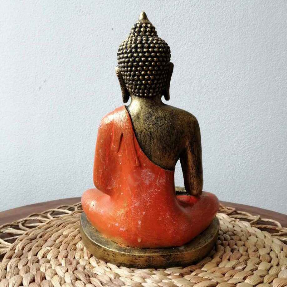 STATUA BUDDHA RESINA ARANCIONE ORO (6)