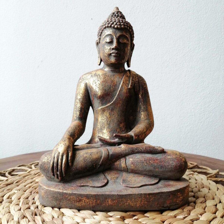 STATUA BUDDHA RESINA ORO (2)