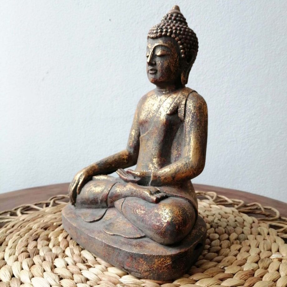 STATUA BUDDHA RESINA ORO (3)