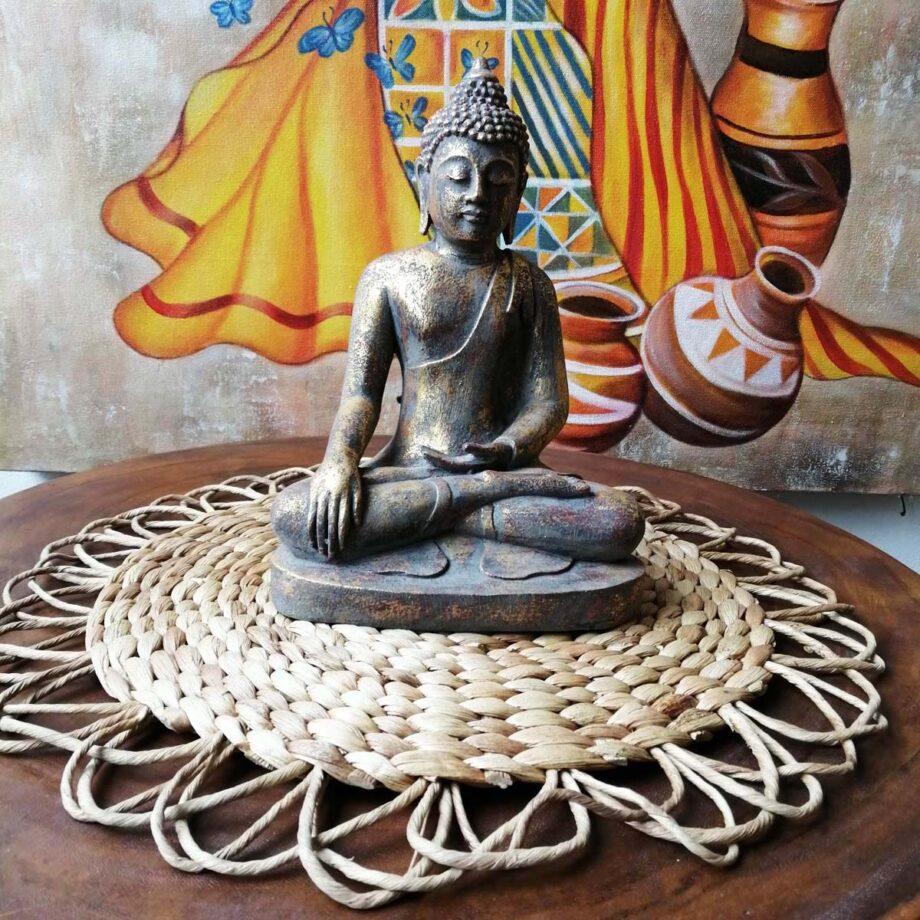 STATUA BUDDHA RESINA ORO (5)