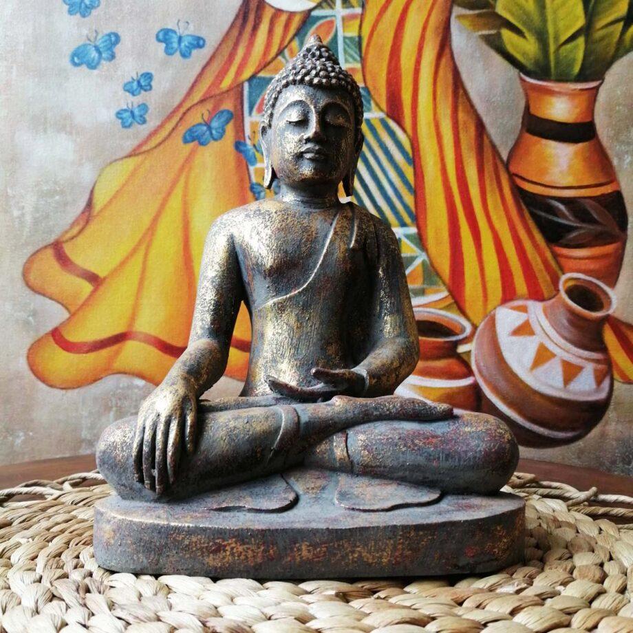 STATUA BUDDHA RESINA ORO (8)