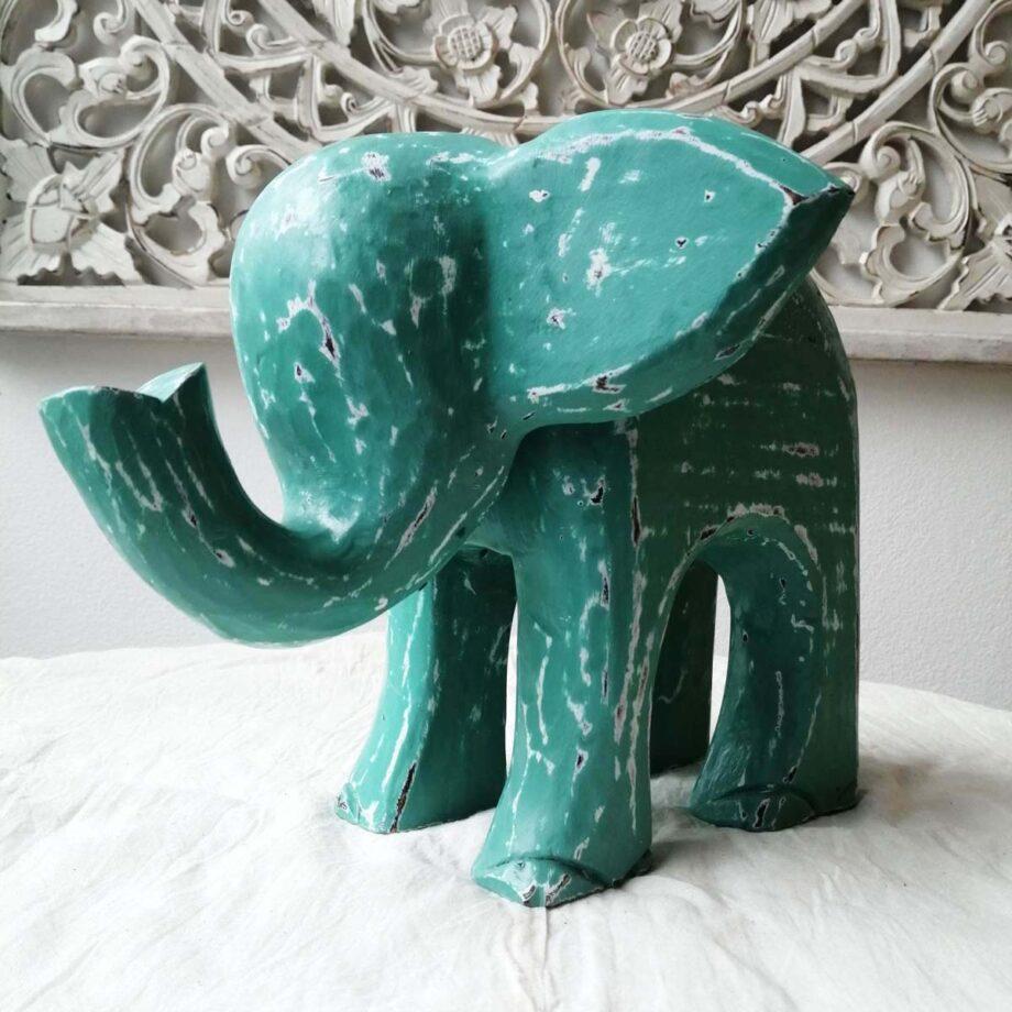 elefante legno l turchese arredo etnico