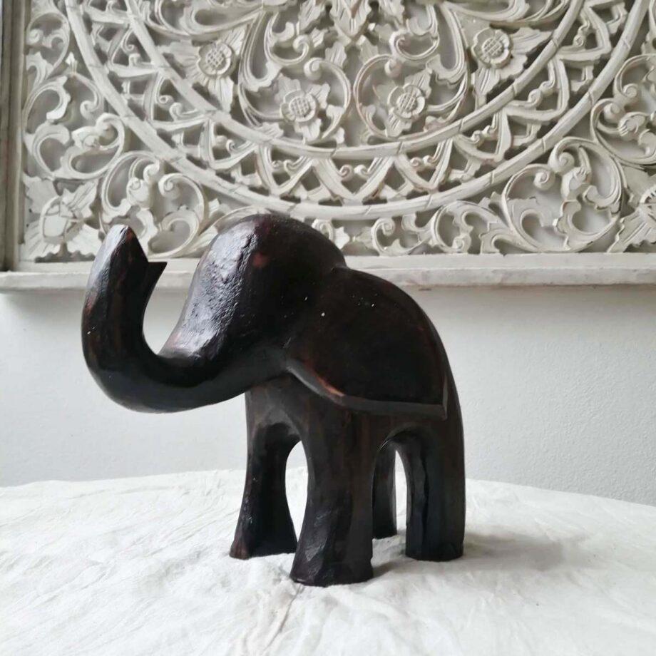 elefante legno m marrone front arredo etnico