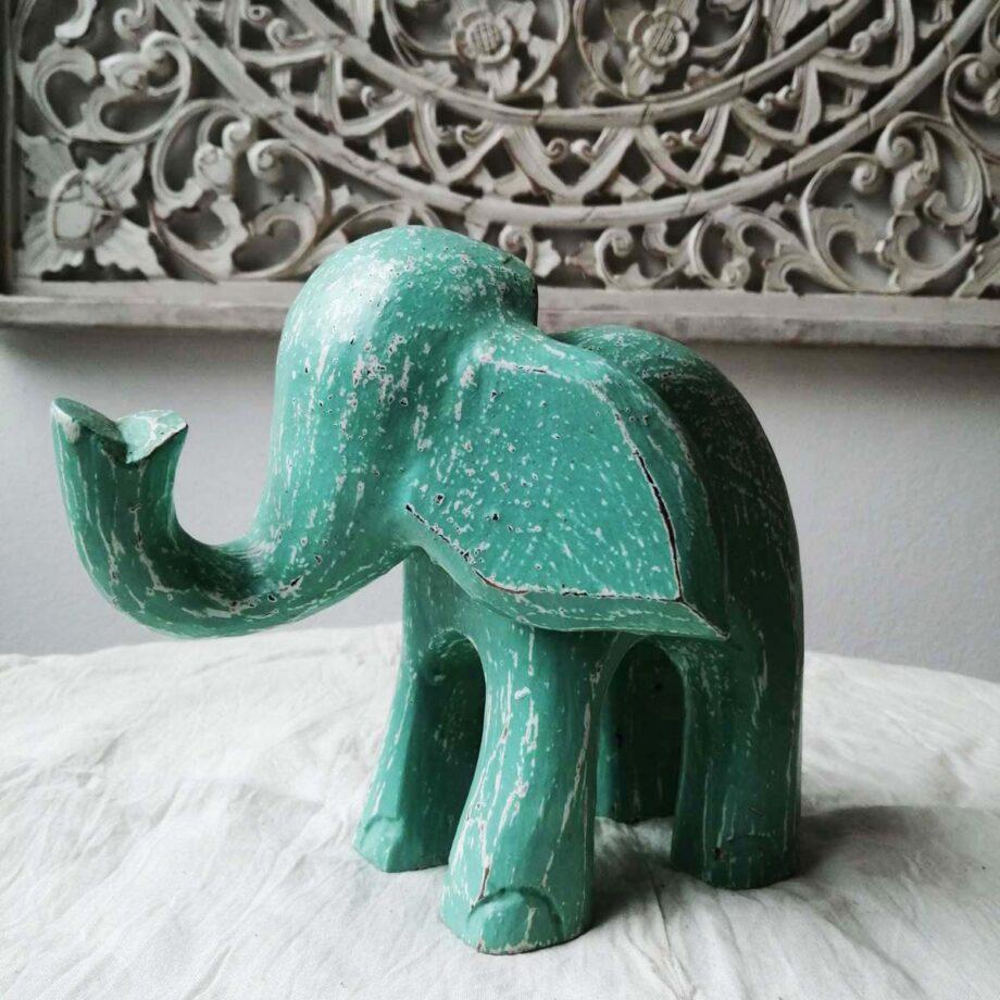 elefante legno m turchese arredo etnico