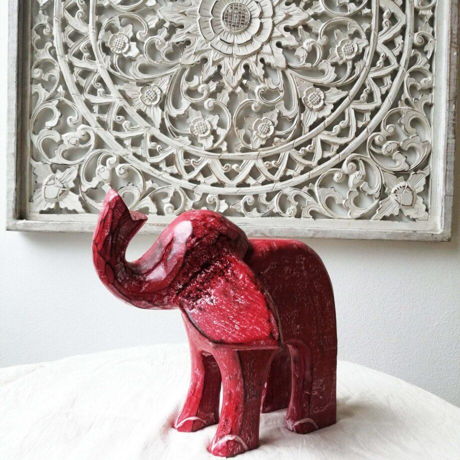 elefante legno rosso l arredo etnico