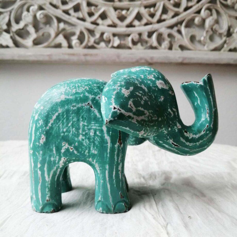 elefantino leegno s turchese arredo etnico