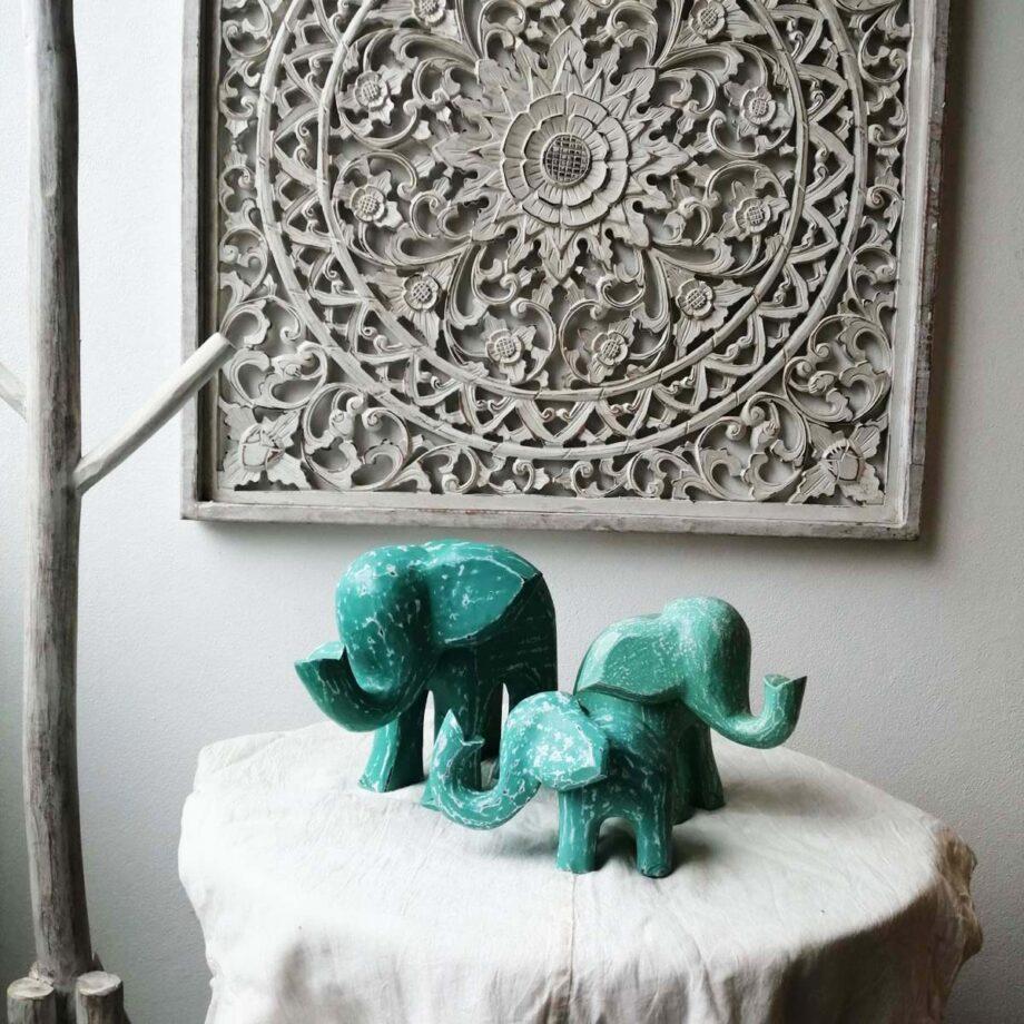 inseme set elefanti legno turchese