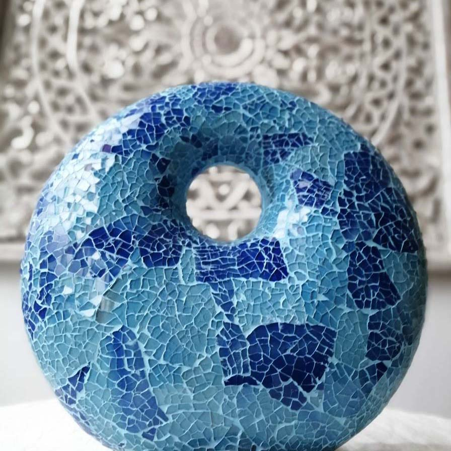 lampada crack donut blu azzurro etnica arredo vetroresina (1)