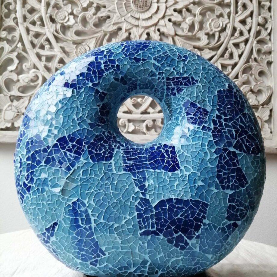 lampada crack donut blu azzurro etnica arredo vetroresina (2)