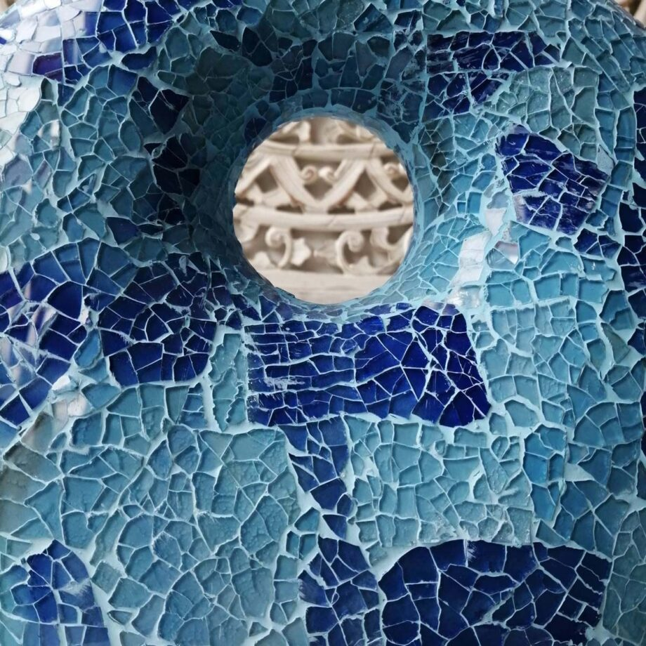 lampada crack donut blu azzurro etnica arredo vetroresina (3)