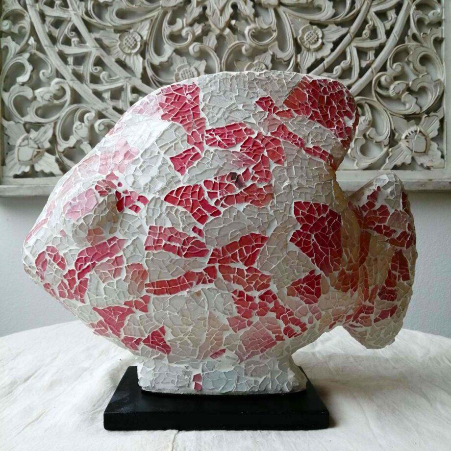 lampada etnica pesce rosso bianco vetro resina (3)