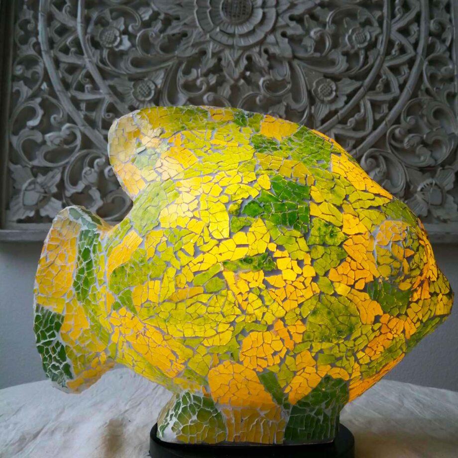 lampada etnica pesce verde giallo vetro resina (1)
