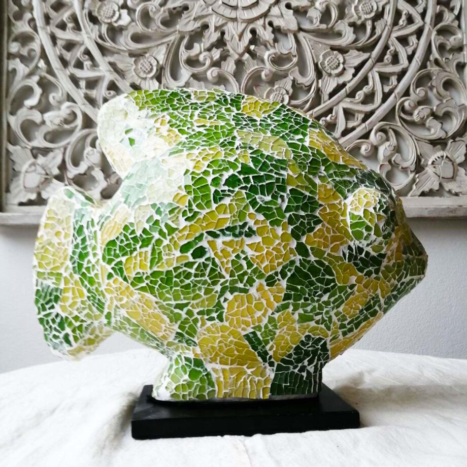 lampada etnica pesce verde giallo vetro resina (4)