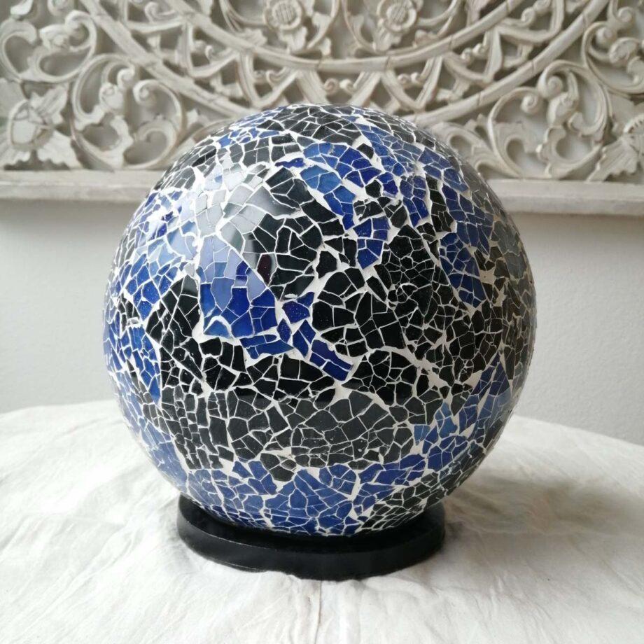 lampada sfera crack nera blu