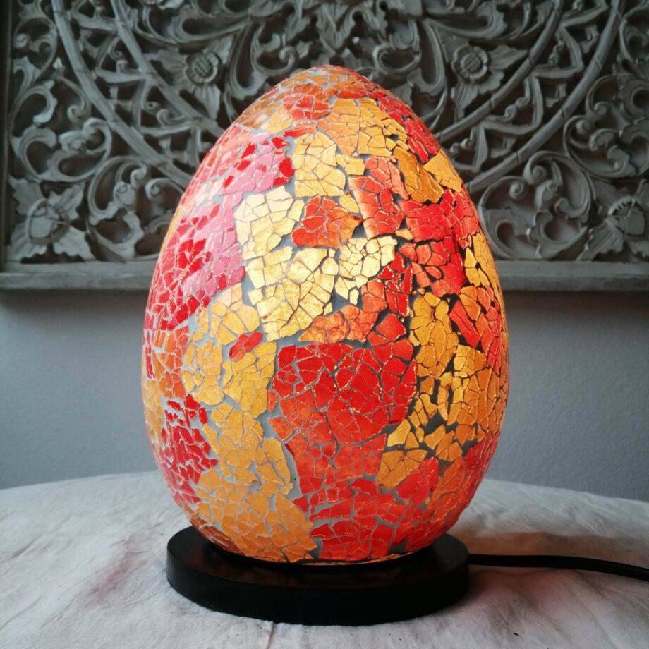 lampada uovo crack etnica arredo rosso oro vetro resina (1)
