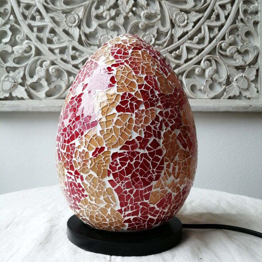 lampada uovo crack etnica arredo rosso oro vetro resina (2)