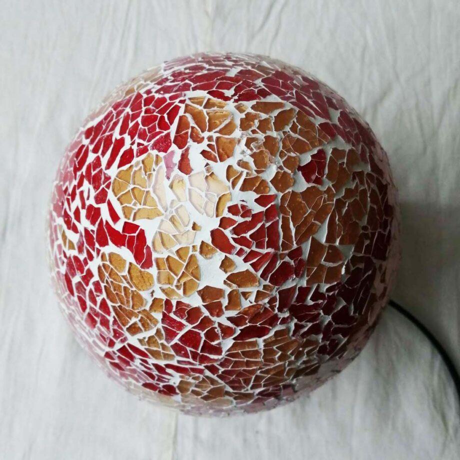 lampada uovo crack etnica arredo rosso oro vetro resina (4)
