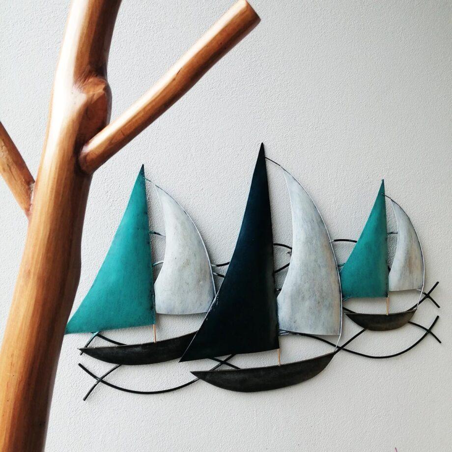 pannello barche a vela lamiera ferro parete turchese artigianato etnico (3)