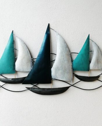 pannello barche a vela lamiera ferro parete turchese artigianato etnico (4)
