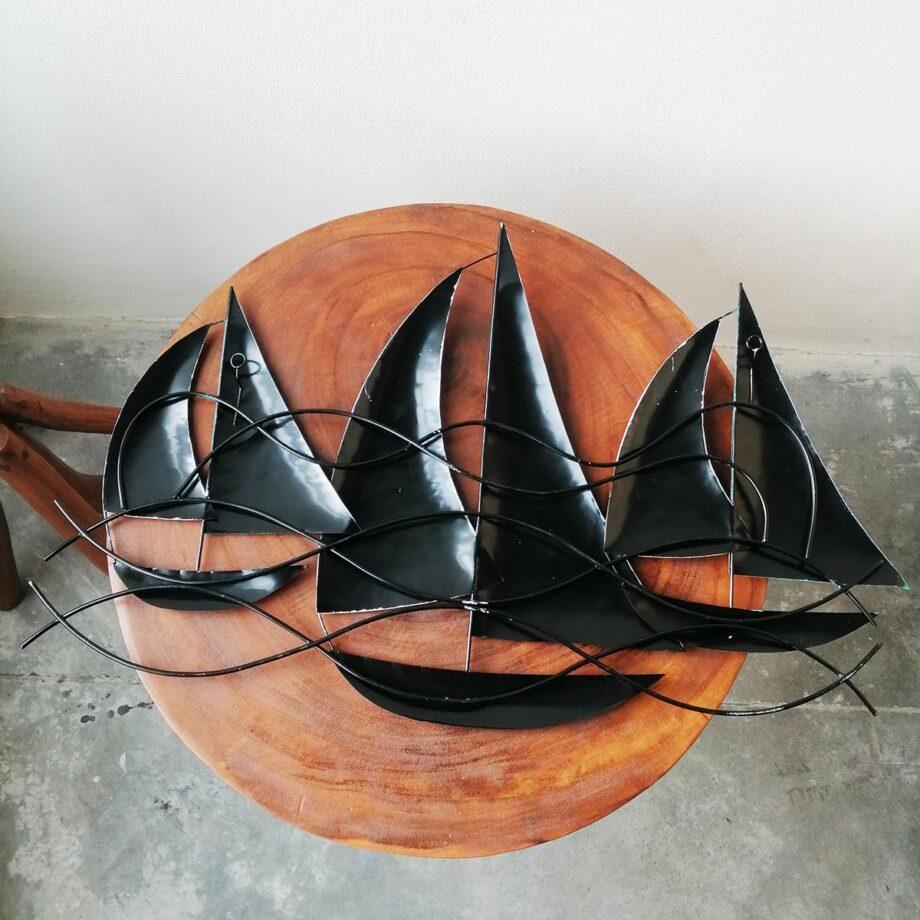 pannello barche a vela lamiera ferro parete turchese artigianato etnico (7)