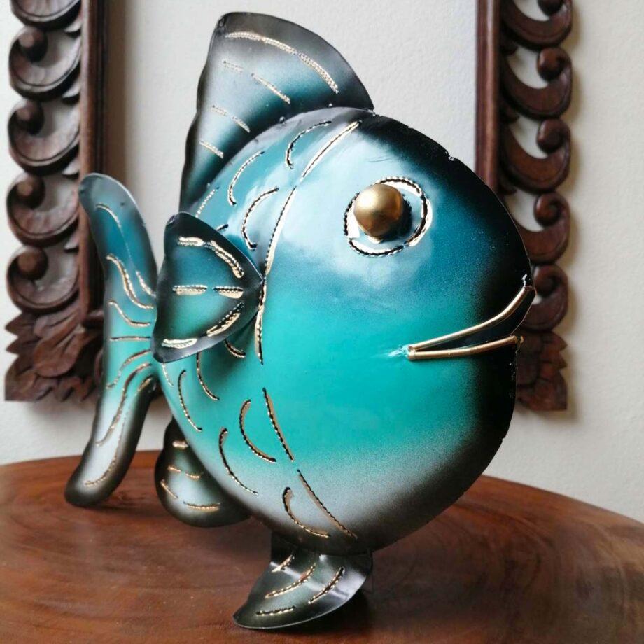 pesce portacandela ferro lamiera etnico nyalan turchese (1)