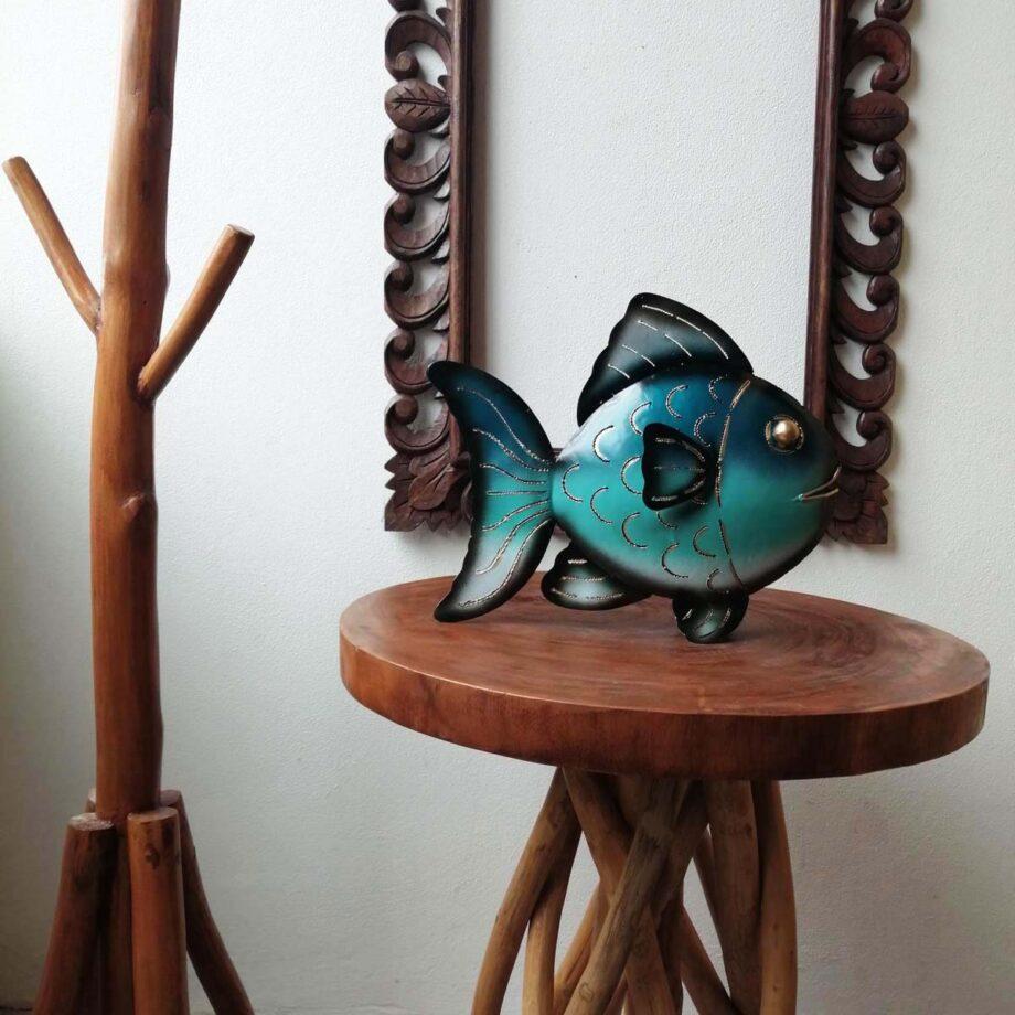 pesce portacandela ferro lamiera etnico nyalan turchese (2)