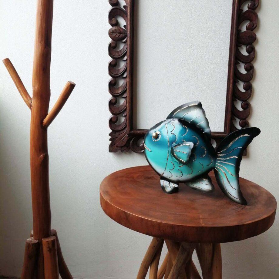 pesce portacandela ferro lamiera etnico nyalan turchese (3)