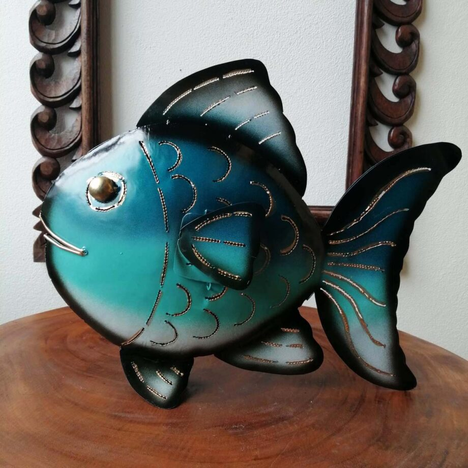 pesce portacandela ferro lamiera etnico nyalan turchese (4)