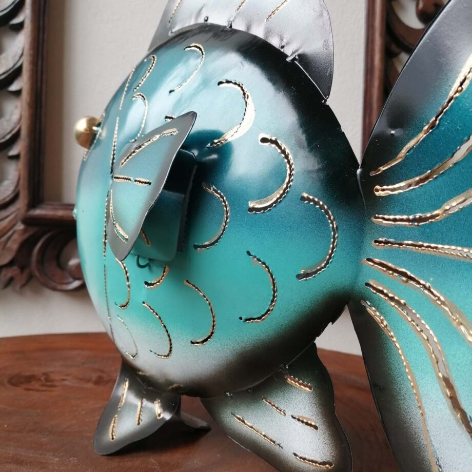 pesce portacandela ferro lamiera etnico nyalan turchese (7)