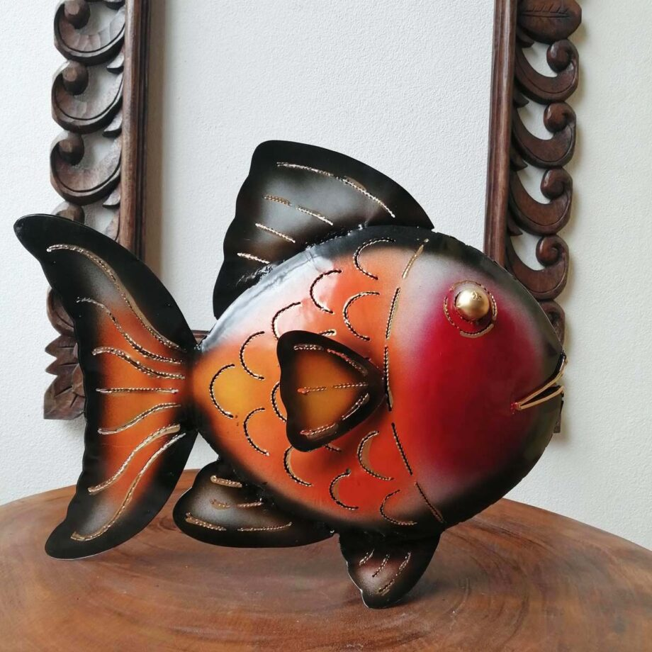 pesce portacandela lamiera ferro etnico nyalan rosso (6)