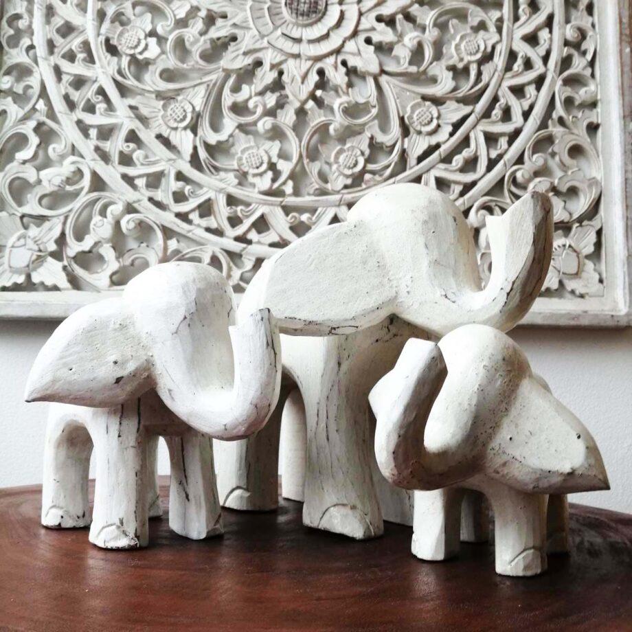 set 3 elefanti legno arredo etnico