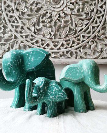 set elefanti legno turchese